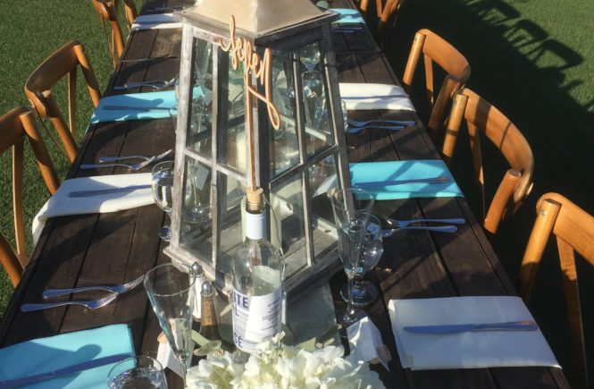 Set table at Ethereal Open Air Resort in Escondido CA